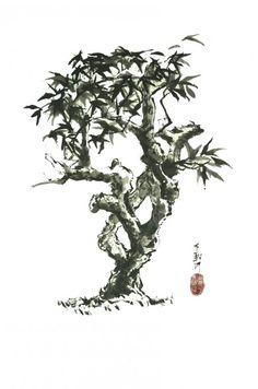 frangipanier (Painting),  60x80 cm par Grégory Cortecero encre traditionnelle sur papier de riz (fait main) Sumi-e réalisé selon la méthode traditionnelle (14ème siècle) oeuvre originale et contemporaine