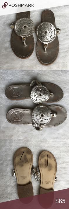 Jack Rogers Platinum Gold Sandals size 5 1/2 Preowned authentic Jack Rogers Platinum Gold Sandals Size 5 1/2. Signs of normal regular wear mostly in upper and lower sole. Please look at pictures for better reference. Happy shopping!! Jack Rogers Shoes Sandals