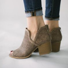 Perforated peep-toe ankle booties...go with everything! Take 40% off these beauties plus everything else on sloanandbri.com!