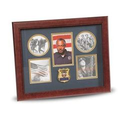 Police Department Medallion 5 Picture Collage Frame Hand Made By Veterans