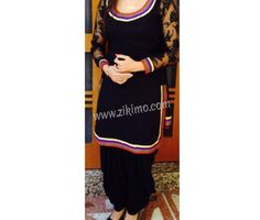 BLACK COTTON SATIN PUNJABI SALWAR KAMEEZ