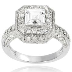 Alexandria Collection Sterling Silver Cubic Zirconia Square Bridal and Engagement Ring Alexandria Collection. $51.99. Cubic zirconia gemstones. Metal weight: 6.2 grams. Band-thinnest dimensions: 3 mm wide. Sterling silver
