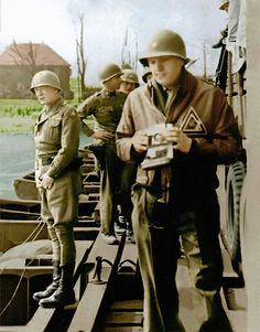 Patton urinating into the Rhine: On 24 Mar 45 as the US Third Army crossed into Germany, a photographer caught General George S Patton standing in the middle of a pontoon bridge directing his stream defiantly into the enemy's larger one, like a dog marking its territory. #WWII