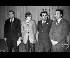 Viktor Korchnoi, Anatoly Karpov, Tigran Petrosian and Lev Polugaevsky at the closing ceremony of the 41st USSR Chess Championship. Boris Spassky won the tournament 11½/17. Moscow, USSR 1973.
