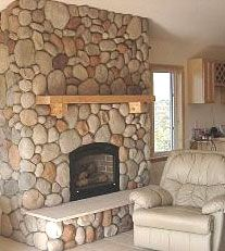 natural color river rock for fireplace