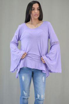 Γυναικεία μπλούζα με καμπάνα μανίκι MPLU-0895-lil   Μπλούζες > Λιλά Bell Sleeves, Bell Sleeve Top, Tops, Women, Fashion, Moda, Fashion Styles, Fashion Illustrations, Woman