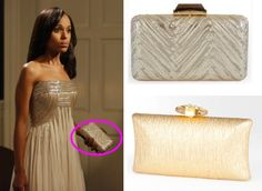 """From """"Happy Birthday, Mr. President"""", we see the exact clutch that Olivia carries on her date with Edison (top right) it is the Kotur Espey Brocade Clutch. Fashionistas can get the look for less, with the bebe Cluster Jeweled Closure Minaudiere (bottom right):"""