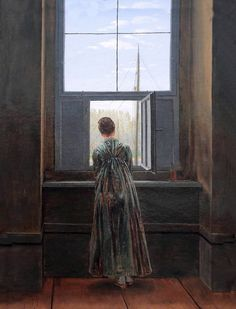 Caspar David Friedrich 1774-1840. Femme à sa fenêtre. Woman at her window. 1822. Berlin Alte Nationalgalerie