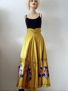1940s Swing Skirt / prairie peasant style midi skirt / vintage novelty print cotton