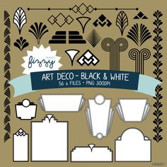 PNG: 56 x Art Deco Black and White Clipart - Digital files PNG with Instant Downl Clipart, Art Deco Invitations, Invites, New York Theme, Party Like Gatsby, Cake Templates, Art Deco Furniture, Art Deco Design, Teaching Art