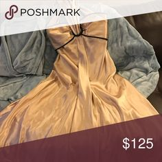 85808e9935a Jessica McClintock Formal Evening Dress Beautiful gold strapless evening  dress trimmed in black floor length.