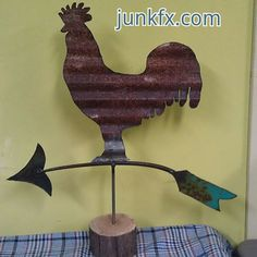Recycled Vintage Barn Tin Metal Rooster Weathervane by Junkfx, $75.00
