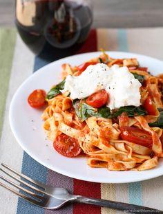 New go-to pasta recipe: Fettuccine with Seared Tomatoes, Spinach & Burrata