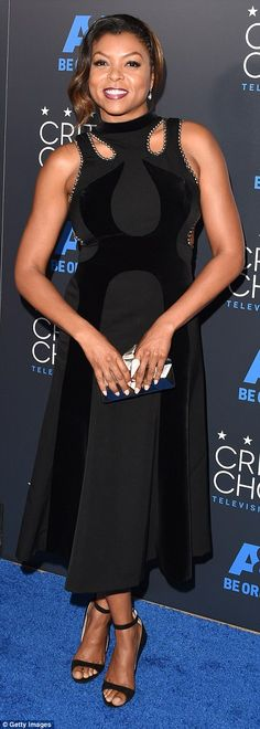 LBD: The 44-year-old actress styled her outfit with strappy color coordinated high heels, ...