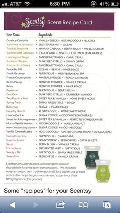 Scentsy Combos! Book a party today or place an order to make these fun smelling combos!! www.csparks.scentsy.us
