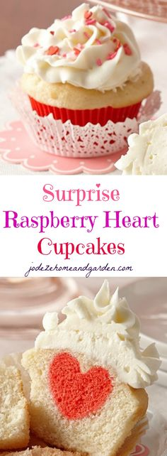 Raspberry Heart Cupcakes (Valentine's Day)
