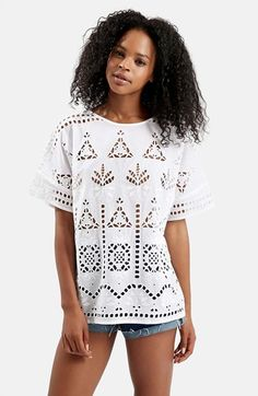 Topshop+Embroidered+Cutout+Tee+available+at+#Nordstrom