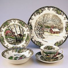 """Johnson Brothers """"Friendly Village"""" - I have 8 place settings of this and it is what I use at Thanksgiving and Christmas.  It is beautiful with the silver and crystal AJ inherited from his grandmother.  :)"""