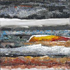"""""""Humeur vague"""" 55 x 55 cm. marbre, granit, émaux de verre, métal, fresque..."""