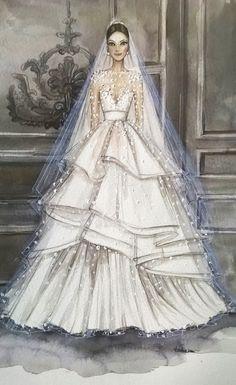 Bridal custom fashion illustration/wedding by loveillustration