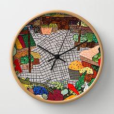 Vegetable market Wall Clock by Bozena Wojtaszek  - $30.00