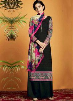 Black Embroidery Work Cotton Satin Designer Printed Pakistani Palazzo Suit www.angelnx.com/Salwar-Kameez