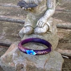 Purple Wood Bangle infused  with healing Reiki by DFInspirations