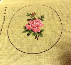 "6"" Round Petit Point Single Rose French Needlepoint Canvas 24 Count Margot #DMC"