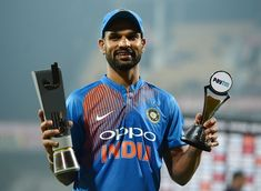 India's former combative batsman Virender Sehwag gave his Moustache birthday wish to Indian opener Shikhar Dhawan. Shikhar Dhawan, Moustache, Birthday Wishes, Cricket, Soccer, Baseball Cards, Sports, Life, Hs Sports