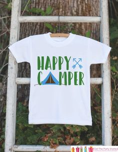 Kid's Happy Camper Outfit - White Shirt or Onepiece - Camping Tent T-Shirt - Camp T Shirt for Baby, Toddler, or Youth - Adventure Clothing