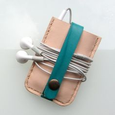 Leather case for iPod Nano Multi Touch 7th generation in nude and green turquoise  by RinartsAtelier
