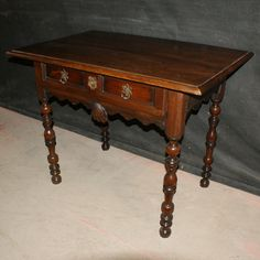 French Walnut Lamp Table-Good 18th C French walnut 1 drawer lamp table. 1780.