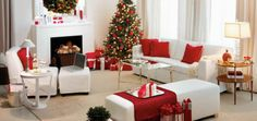 Red and White Christmas Home Decoration Ideas, Christmas Home Red & White Decoration Ideas Elegant Christmas, Noel Christmas, Modern Christmas, Simple Christmas, Beautiful Christmas, White Christmas, Outdoor Christmas, Christmas Lounge, Office Christmas