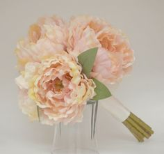 Silk Peony Bouquet Light Pink Peonies by blueorchidcreations, $30.00
