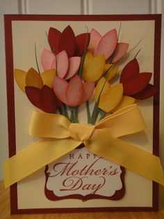 Stampin Up handmade tulips flower  mother's day / birthday card, all occasion. $5.00, via Etsy.