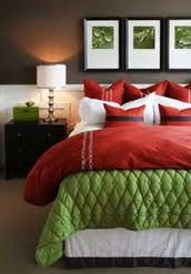 The red and green colors in this room complement each other, which makes this room pleasing to the eye.