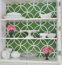 Stenciled China Cabinet Tutorial-A fun, eye-catching project featuring stencils from Royal Design Studio . Free tutorial with pictures on how to make furniture in 6 steps by decorating with stencil, craft paint, and foam board . Decor, Furniture, Stencil Diy, Painted Furniture, Royal Design Studio Stencil, Cabinet, Decorating On A Budget, Home Decor, China Cabinet