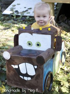 Handmade by Meg K: Ben's 'Tow Mater' Costume, hopefully to be handmade by both grandmothers and our daughter (in law) for Eli