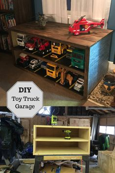 Toy Truck Garage This could make kids actually WANT to put their toys away! Check out this DIY cabinet turned into a mini garage with parking spaces for each toy truck. Mini Garage, Toy Garage, Garage Playroom, Basement, Kids Bedroom Boys, Kids Room, Boys Playroom Ideas, Toddler Boy Room Ideas, Toy Room Organization