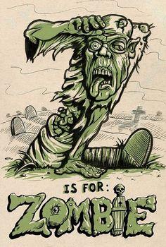 [ Halloween Quotes : Illustration Description Z is for ZOMBIE! Zombie Life, Zombie Art, Dead Zombie, Apocalypse Survival, Zombie Apocalypse, Horror, Halloween Quotes, Halloween Humor, Halloween Pics