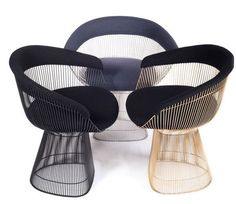 Platner Chairs in navy velvet - two of these instead of a bench?