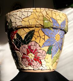 Big mosaic pot - WIP 3 ready for grouting Mosaic Planters, Mosaic Garden Art, Mosaic Vase, Mosaic Tile Art, Mosaic Flower Pots, Mosaic Artwork, Pebble Mosaic, Mosaic Art Projects, Mosaic Crafts