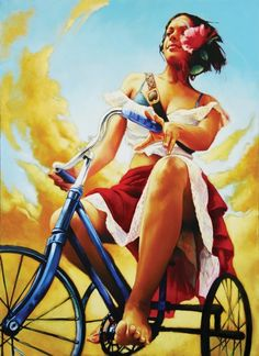 Tertia du Toit - Paarl ,Western Cape, South Africa artist - I can't believe I found this! I've been looking for this artist for so long! Bike Illustration, South African Artists, Bicycle Art, Mtb Bicycle, Cycling Art, Henri Matisse, Figure Painting, Woman Painting, Black Art