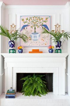 Fern Fireplace - 6 Instant Ways to Give Your Fireplace a Summertime Makeover - Southernliving. A white fireplace mantel makes the perfect canvas for bold pops of color. The symmetrical décor and array of vibrant hues make for one eye-catching display.   See more at The Pink Clutch