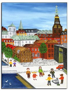 The city of Copenhagen as seen by naiv artist Mia Cara