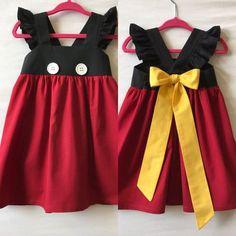 Mickey Mouse Dress Disney Dress Baby Girls Dress Girls Dress Little Girls Dress Childs Dress Party Dress Flutter Sleeve Dress Baby Girl Dresses Diy, Baby Outfits, Little Girl Dresses, Girls Dresses, Baby Girls, Toddler Girls, Robes Disney, Disney Dresses, Mickey Mouse Dress