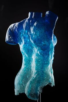 Chrystal Blue Life study sculpture in glass