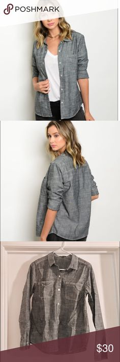 Gray Denim Chambray Top NWT! Cute button up gray denim chambray top. Long sleeve. 100% rayon. 3rd pic is the actual piece look as I have a size medium in this .                              ❕TOP RATED SELLER❕                 FAST SHIPPING‼️                Quick Responses!                Bundle to save 15%! Timing Tops Button Down Shirts