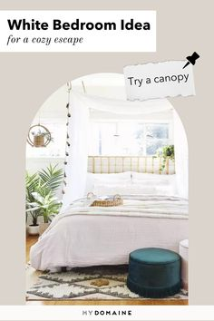 One white bedroom idea to try is going with a canopy bed and white or neutral linens. Canopy beds look so luxurious, especially when decked with cascading curtains.