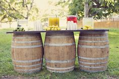 ♥ I really heart wine barrels and crates used for a rustic wedding. Lemonade stands are a perfect idea for outdoor weddings during the summer. As your guests are sigining your guest book they can grab a mason jar of lemonade before the ceremony...& spike the leftover lemonade for after the ceremony and that can be your signature drink for your rustic wedding. USE MASON JARS...if you can ♥